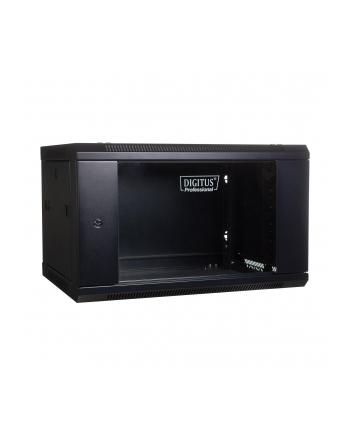 DIGITUS Szafa wisząca 19'' 6U 368/600/450mm, drzwi szklane, czarna, niezmontowana