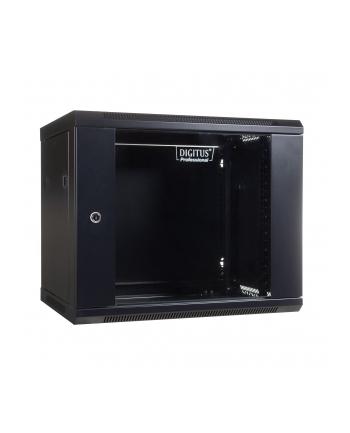 DIGITUS Szafa wisząca 19'' 9U 501/600/450mm, drzwi szklane, czarna, niezmontowana
