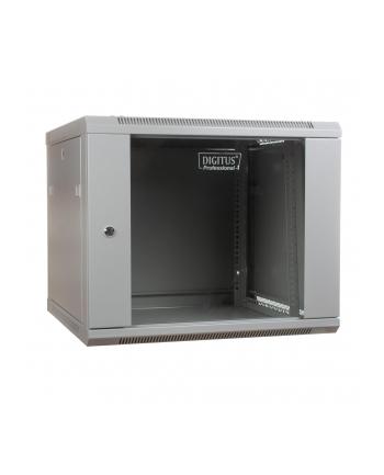DIGITUS Szafa wisząca 19'' 9U 501/600/450mm, drzwi szklane, szara, niezmontowana
