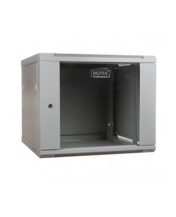DIGITUS Szafa wisząca 19'' 9U 501/600/600mm, drzwi szklane, szara, niezmontowana
