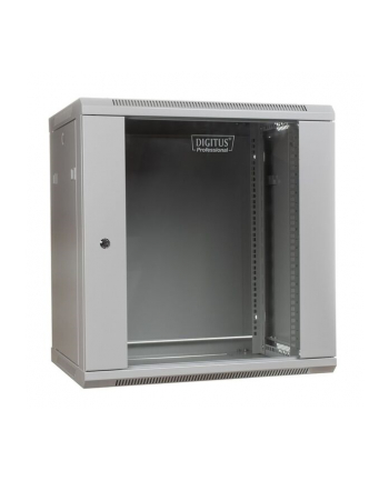 DIGITUS Szafa wisząca 19'' 12U 635/600/450mm, drzwi szklane, szara, niezmontowana
