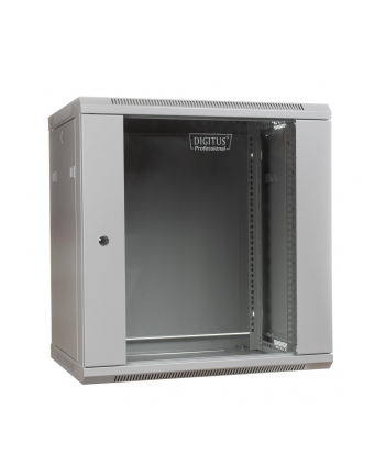 DIGITUS Szafa wisząca 19'' 12U 635/600/600mm, drzwi szklane, szara, niezmontowana