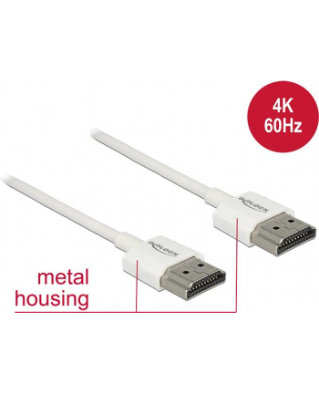 DELOCK HDMI-Kabel HighSpeed Ethernet A->A 4K 3D 0,50m weiß