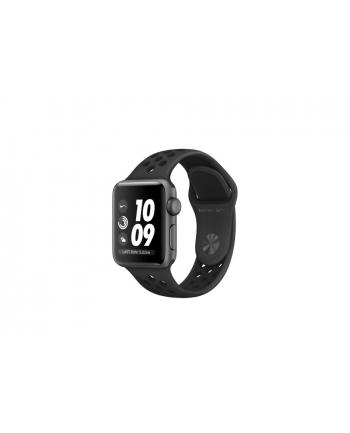 apple Watch Nike+ Series 3 GPS, 38mm koperta z aluminium w kolorze gwiezdnej szarości z paskiem sportowym Nike w kolorze antracytu/czarnym