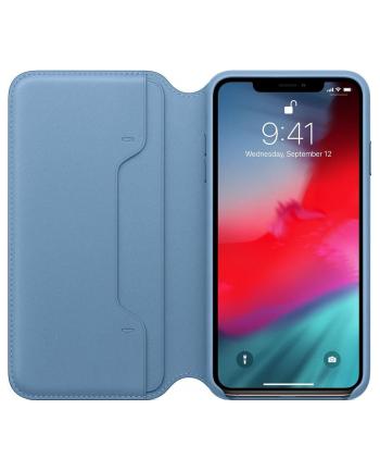 apple Skórzane etui folio iPhone XS Max - szary błękit