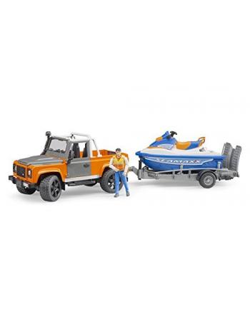 Land Rover z lawetą, skuterem i figurką 02599 BRUDER