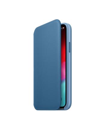 apple Etui skórzane folio iPhone XS - szary błękit