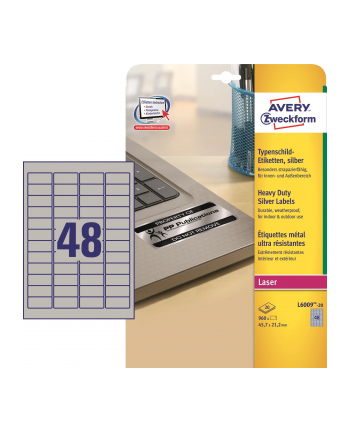 avery zweckform Etykiety znamionowe, 45,7 x 21,2mm, srebrne, 960 sztuk