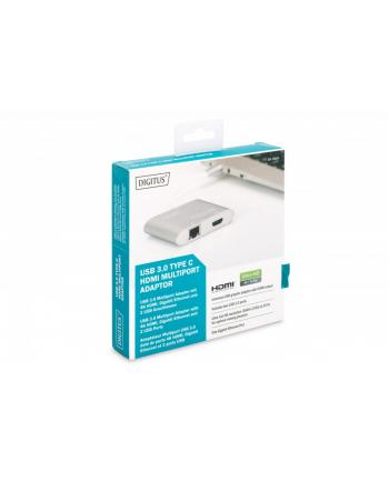 digitus Multi Adapter HDMI 4K 30Hz UHD, RJ45 Gigabit Ethernet, 2x USB 3.0 na USB Typ C, srebrny, aluminiowy