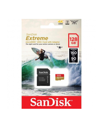 SANDISK EXTREME microSDXC 128 GB 160/90 MB/s A2 C10 V30 UHS-I U3 ActionCam