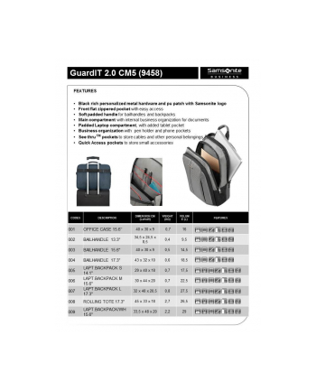 Torba SAMSONITE CM509001 15,6'' GUARDIT 2.0 komp,kiesz, tblt, dok, czarna