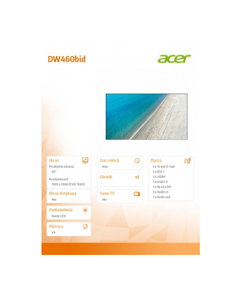 acer Monitor wielkoformatowy 46 cali DW460bid LFD