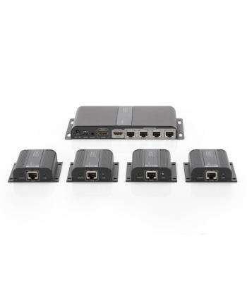 digitus Przedłużacz/Extender HDMI 4-portowy do 40m po Cat.6/7, 1080p 60Hz FHD, HDCP 1.4, IR, audio (zestaw)