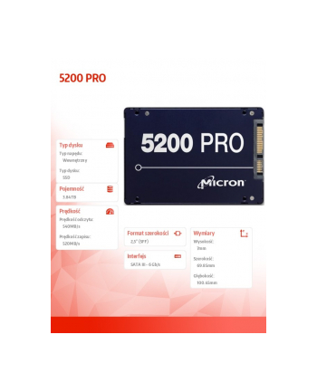 micron Dysk SSD 5200 PRO 3.84TB SATA 2.5 TCG Disabled