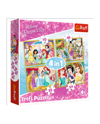 Puzzle 4w1 Radosny dzień księżniczek 34309 Trefl