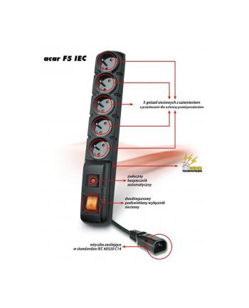 hsk data (acar) Acar F5 IEC listwa zasilająco-filtrująca, czarna, 3m