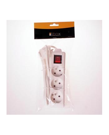 LIBOX Listwa przedłużacz, 3 gniazda, kabel 1,5m  LB0081-1,5 biały