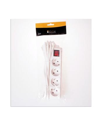 LIBOX Listwa przedłużacz, 4 gniazda, kabel 3m  LB0083-3 biały