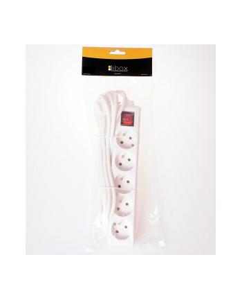 LIBOX Listwa przedłużacz, 5 gniazd, kabel 1,5m  LB0085-1,5 biały