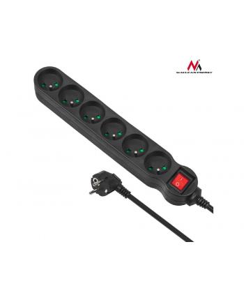 Maclean MCE225 Listwa zasilająca przedłużacz 6 gniazd z wył czarny 1,5m 2300W