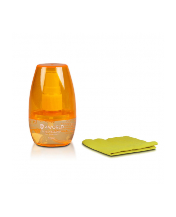 4World Zestaw czyszczący 50ml, szmatka 15x15, pomarańczowy