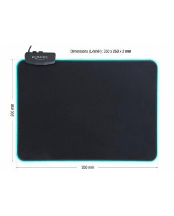 Delock Podkładka Pod Mysz 350 x 260 x 3mm Podświetlenie RGB