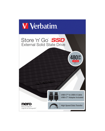 Verbatim 6.35cm (2.5'') Store 'n' Go Portable SSD USB 3.1 GEN 1 480GB Black