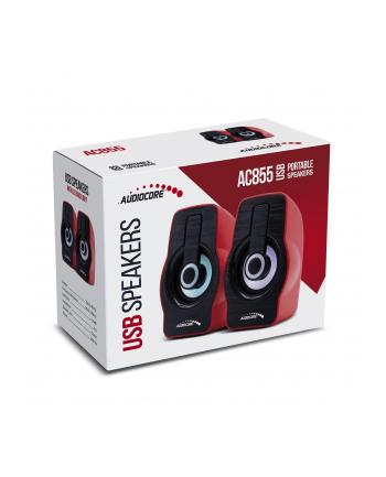Audiocore AC855R Głośniki Komputerowe 6W USB Black/Red
