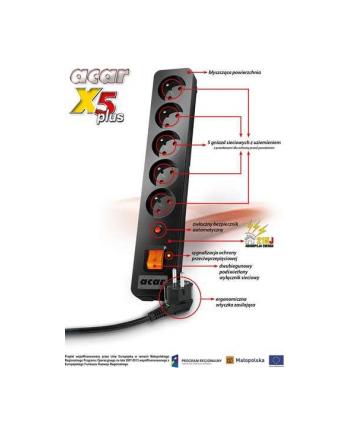 hsk data (acar) Acar X5 PLUS 3m listwa zasilająco-filtrująca, czarna