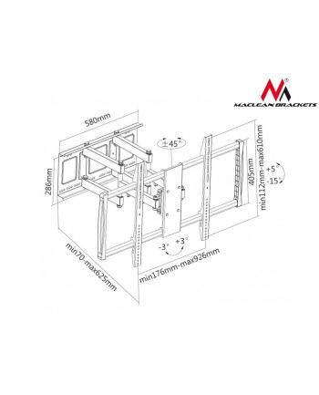 Uchwyt Maclean  MC-679 (Obrotowy  ścienny  Uchylny - 100 ; Max. 80kg)