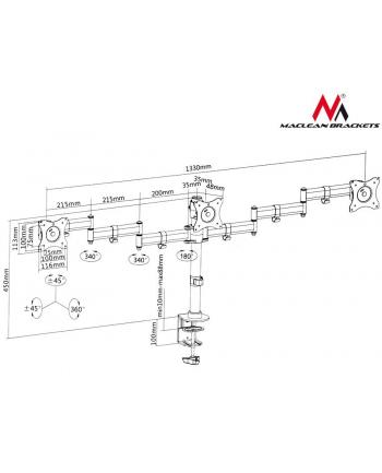 Uchwyt biurkowy do monitora Maclean MC-691 (biurkowy  Obrotowy  Uchylny - 27 ; max. 24kg)
