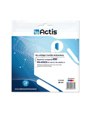 Tusz ACTIS KH-650CR (zamiennik HP 650 CZ102AE; Standard; 9 ml; kolor)