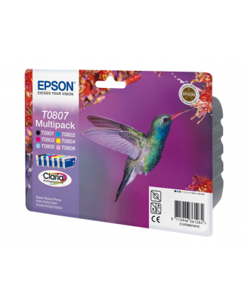 Zestaw tuszy Epson T0807 (do drukarki Epson  oryginał C13T08074011 6x8ml cyan czarny light cyan light magenta magenta yellow)