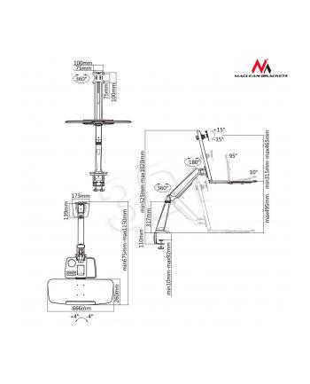 MACLEAN UCHWYT BIURKOWY DO MONITORA ORAZ KLAWIATURY MC-728 13-32  8KG MAX VESA 100X100