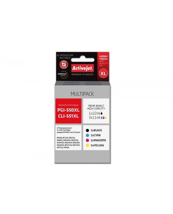 Zestaw tuszy Activejet AC-M550/551RX (zamiennik Canon PGI-550Bk XL  CLI-551C XL  CLI-551M XL  CLI-551Y XL; Premium; 1 x 22 ml  3 x 11 ml; czarny  czerwony  niebieski  żółty)