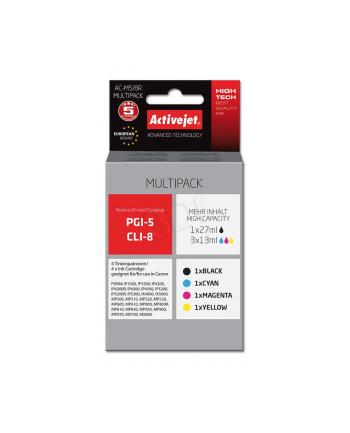 Zestaw tuszy Activejet AC-M5/8R (zamiennik Canon PGI-5Bk  CLI-8C  CLI-8M  CLI-8Y; Premium; 1 x 27 ml  3 x 13 ml.; czarny  czerwony  niebieski  żółty)