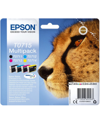 Zestaw tuszy Epson C13T07154012 (oryginał ; 1 x 7 4 ml  3 x 5 5 ml; czarny  czerwony  niebieski  żółty)