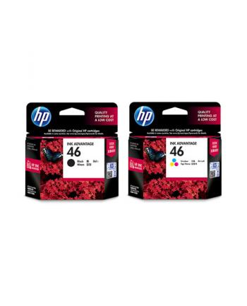 hewlett-packard Zestaw tuszy HP F6T40AE (oryginał HP46 HP 46 zestaw zawiera 2 szt. czarny i 1 szt. kolor 2xCZ637AE CZ638AE; czarny  kolor)