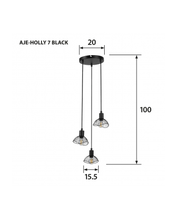 Lampa Activejet AJE-HOLLY 7 Black (E14 x 3)