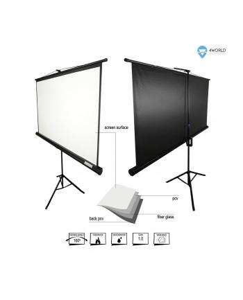 Ekran projekcyjny na stojaku 4World 5908214349609 (rozwijane ręcznie; 178 x 178 cm; 1:1; 100 0 )