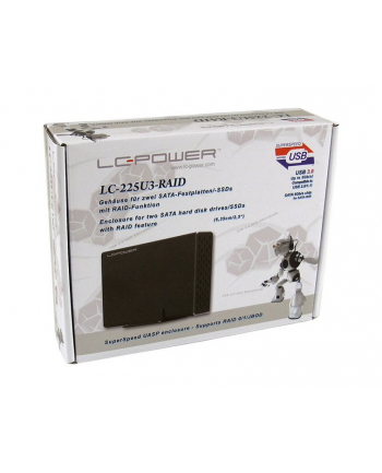 Obudowa do dysku LC-POWER LC-225U3-RAID (2.5 ; USB 3.0; Aluminium  Plastik; kolor czarny)