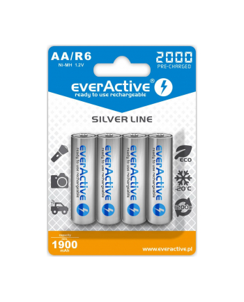EVERACTIVE AKUMULATORKI EVERACTIVE NI-MH R6 AA 2000 MAH SILVER LINE  READY TO USE  EVHRL6-2000