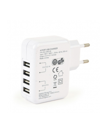 Ładowarka sieciowa do smartfona ENERGENIE EG-U4AC-02 (USB; kolor biały)