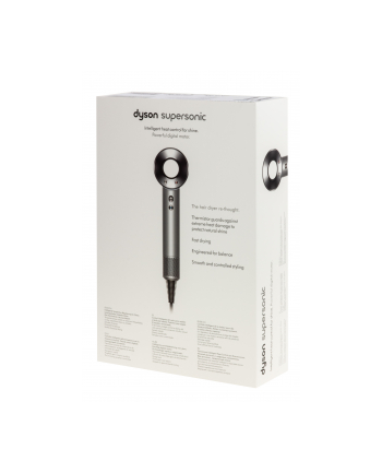 Dyson HD01 Supersonic hair dryer, 3 nozzle, 3 speed settings, 4 heat settings, Stainless steel/White