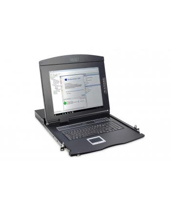 Konsola 17 LCD z touchpad KVM 8 portów 1U komplet kabli (8xDS-19231) klawiatura US