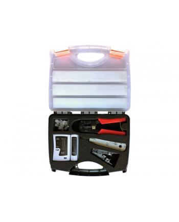 Zestaw narzędzi instalatorskich w walizce (tester, nóż LSA, zaciskarka, stripper, wtyki RJ45)