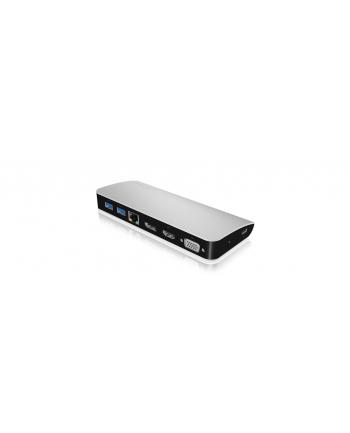 IcyBox Stacja Dokująca, USB Type-C, HDMI, DP, VGA, Srebrna