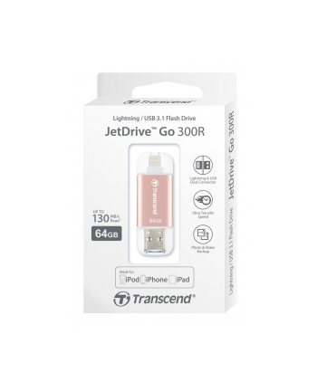 Transcend 64GB, USB drive for iOS device, JetDrive Go 300, Rose