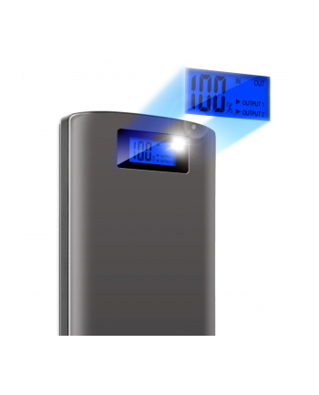 ADATA P20000D Power Bank, 20000mAh, LED flashlight, grey