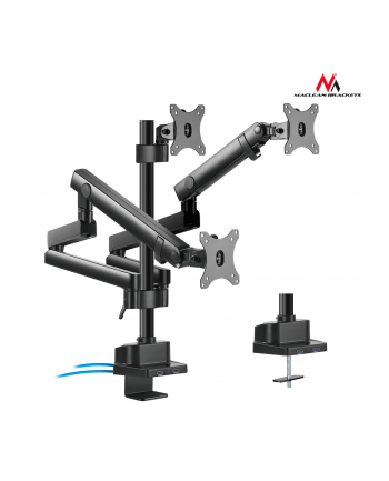 Uchwyt biurkowy do 3 monitorów Maclean MC-811 (biurkowy; 17  - 27 ; max 20kg)